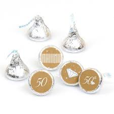 50th anniversary round candy labels wedding anniversary favors