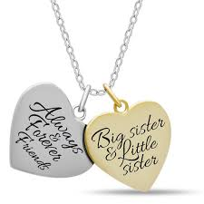 double heart necklace images Sister double heart necklace 925 silver 14k gold and silver jpg