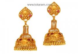 gold jhumka earrings temple jewellery 22k gold jhumkas 22k gold dangle earrings