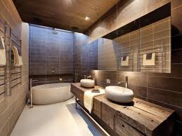 modern tub and wooden floating vanity using chic sink faucet for