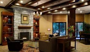 warm living room with stone fireplace also polka dots armchair
