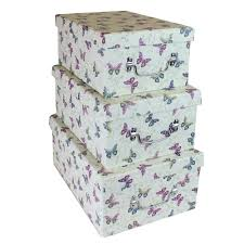set of three butterfly print high gloss storage boxes ebeez co uk