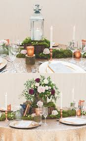 copper decorations how to style a rustic glamour wedding table with moss and copper