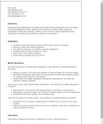 Company Resume Templates Professional Waste Management Consultant Templates To Showcase