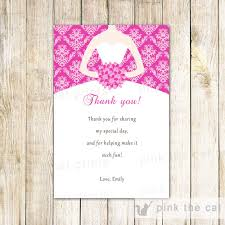 dress bridal shower thank you card pink thank you