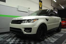 wrapped range rover sport 2014 range rover 3m satin pearl white car wrap miami with gloss