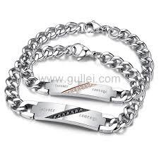 Customized Engraved Bracelets Engraved Boyfriend And Girlfriend Chain Bracelets Set For 2