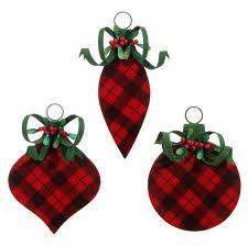 raz flocked buffalo plaid ornament set of 3 assorted