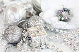 silver christmas christmas ornaments in silver and white tone stock photo colourbox