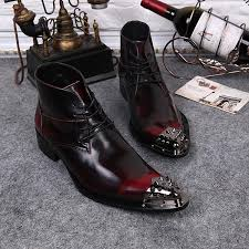 knight boots boots male shoes metal toe wine red lace up mens