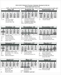 7 teacher calendar templates free sample example format