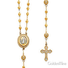 gold rosary rosary necklaces 14k white yellow gold silver goldenmine