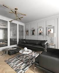 idee deco salon canape noir idee deco salon style scandinave canapes noir tapis geometrique