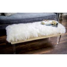 Lucite Bench For Sale Luxe White Sheepskin Lucite Bench Free Shipping Today