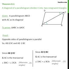 theorem 8 1 class 9 diagonal of a parallelogram divides theorems