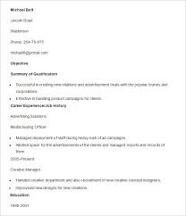 advertising resume template u2013 16 free samples examples format