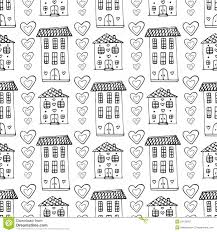 hand drawn cute houses seamless pattern vector doodle background