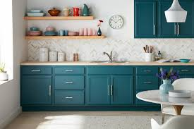 colored kitchen cabinets colorful kitchen cabinet transformation the finish