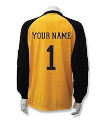 goalkeeper jersey design your own amazon com soccer goalkeeper jersey personalized with your name and