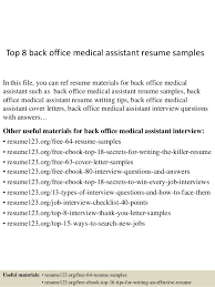 top 8 back office medical assistant resume samples 1 638 jpg cb u003d1431822997