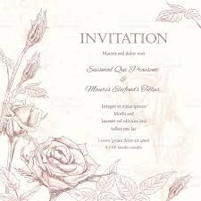 Single Card Wedding Invitations Roses Floral Wedding Invitation Background Stock Vector Art