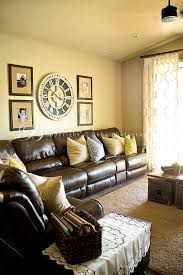 Nice Living Room Leather Furniture Ideas - Living room design with brown leather sofa