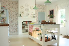 Shabby Chic Kitchen Wallpaper by English Wallpaper Dining Room Transitional With Flowery Wallpaper
