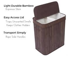 Laundry Hamper Double by Birdrock Home Double Laundry Hamper With Lid And Cloth Liner