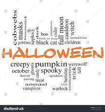 halloween word cloud concept orange black stock illustration