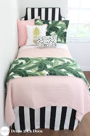 pink and white girls bedding palm leaf black white blush quilt teen bedding set