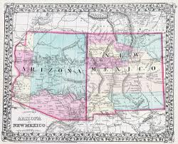 Large Map Of United States by Large Detailed Old Map Of Arizona And New Mexico States With Other