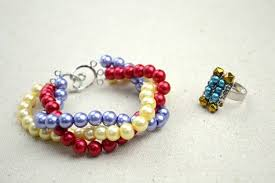 bracelet with ring designs images Handmade beaded jewelry designs simple pearl bracelet and ring set jpg