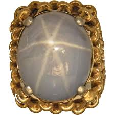 14k yellow gold light grayish blue natural star sapphire ring