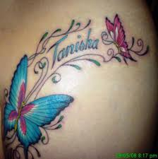 2 different butterflies and the name tanisha between them