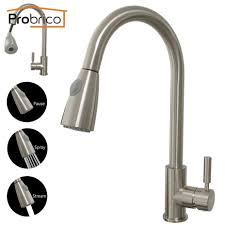 probrico brushed nickel mixer water tap pull out down swivel spout