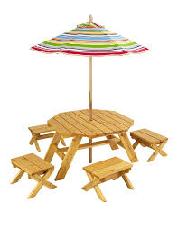 Outdoor Table Umbrella Amazon Com Kidkraft Octagon Table U0026 4 Stools And Multi Striped