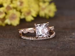 gold wedding set 1 2 carat princess cut morganite gold wedding set diamond