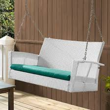 White Resin Wicker Loveseat Modern White Resin Wicker Outdoor Patio Porch Swing With Turquoise