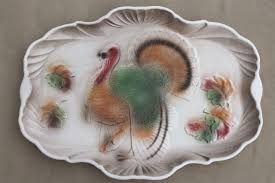 turkey platters thanksgiving 50s vintage california pottery turkey platter airbrush painted