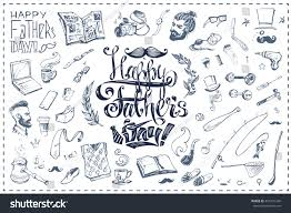 calligraphic inscription happy fathers day sketch stock vector