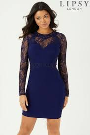 blue bodycon dress womens lipsy lace top bodycon dress blue 37 00 bullring