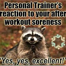 Personal Trainer Meme - crossfit coach reaction to your post workout soreness lol workout