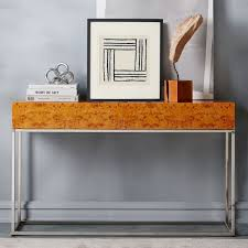 burl wood console table burl console west elm