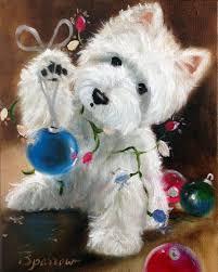 needlepoint canvas print westie west highland terrier dog art