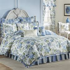 Machine Washable Comforters Luxurious Ornate Floral Green Blue Ivory Reversible Comforter