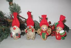 set of 4 holboll tomte gnomes wooden ornaments