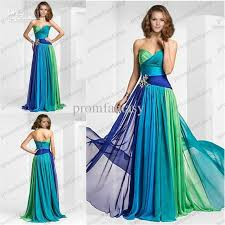 dresses for wedding guests 2016 ombre colorful chiffon evening gowns sweetheart neckline