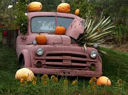 vintage fall truck with pumpkins free stock photo public domain