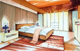 drawn bedroom rendered pencil and in color drawn bedroom rendered