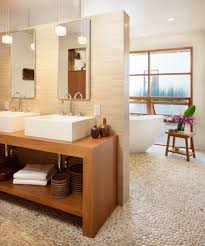 portland river stone tile bathroom asian with transitional laundry
